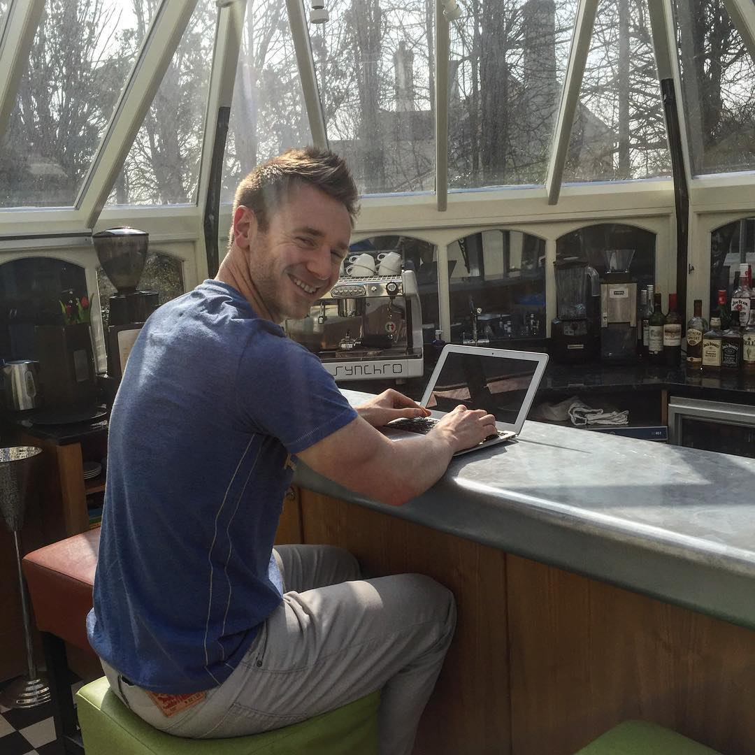 Scott working on some online programs